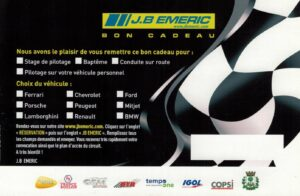 Bon cadeau à offrir pour votre sortie circuit en stage de pilotage ou en voiture personnelle.