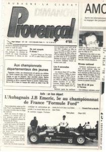 Le provençal article sur l'Aubagnais JB EMERIC en championnat de France de Formule Ford.