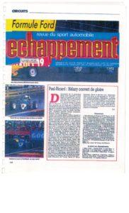 Echappement la revue du sport automobile parle du palmarès de JB EMERIC. La Formule Ford avec l'équipe Palmyr JB finira premier pilote de l'équipe.
